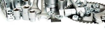 metalwork Scie, clé, règle et d'autres outils dessus photographie stock