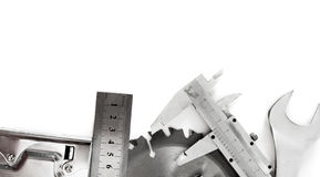 metalwork Skiftnyckel, klämma, mått och andra arkivbild