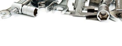 metalwork Skruvnyckel, linjal, klämma och andra arkivfoto