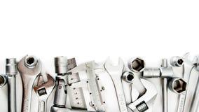metalwork Skruvnyckel, linjal, klämma och andra royaltyfria bilder