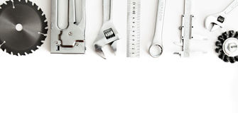 Metalwork. Stapler, saw, wrench and others tools stock photo