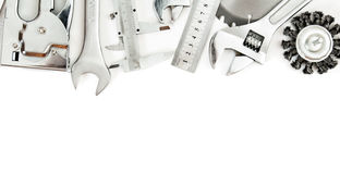 Metalwork. Wrench, caliper, measure and others Stock Images