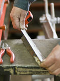 Metalworker measuring royalty free stock image