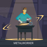 Metalworker Production Process Flat Retro  Poster Stock Photography