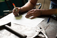 Metalworker working on a project Royalty Free Stock Images