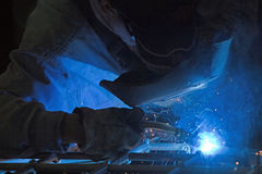 Metalworker in a workshop Royalty Free Stock Images