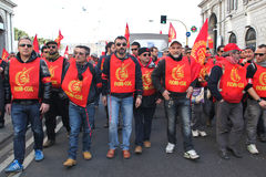 Metalworkers' general strike in Italy. Italian metal workers protesting against the economic policy of the Italian government during the general strike on March Royalty Free Stock Photography