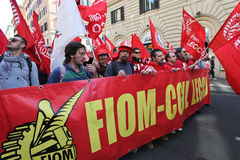 Metalworkers' general strike in Italy. Italian metal workers protesting against the economic policy of the Italian government during the general strike on March Stock Photo