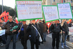 Metalworkers' general strike in Italy. Italian metal workers protesting against the economic policy of the Italian government during the general strike on March Stock Image