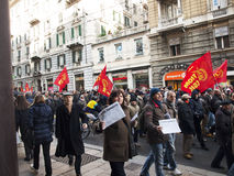 Metalworkers\' strike in Genoa Royalty Free Stock Photos