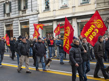 Metalworkers\' strike in Genoa Stock Photos
