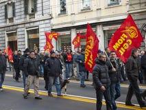 Metalworkers\' strike in Genoa Stock Photos