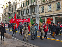 Metalworkers\' strike in Genoa Stock Image