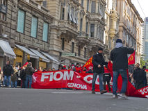 Metalworkers\' strike in Genoa Stock Photo