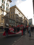 Metalworkers\' strike in Genoa Royalty Free Stock Image