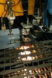 Metalworking. Lasercutting close-up. Sheet metal cutting Royalty Free Stock Photo
