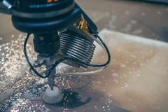 Metalworking CNC milling machine. Cutting metal modern processin. G technology stock image