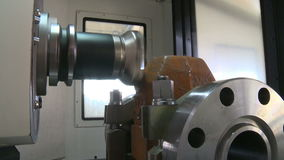 Metalworking CNC milling machine. Cutting metal modern processing technology stock video