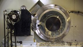 Metalworking CNC milling machine. Cutting metal modern processing technology. stock video footage