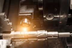 Metalworking CNC milling machine. Cutting metal modern processin. G technology stock photography