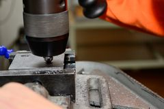 Metalworking - countersink Stock Photo