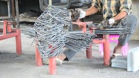Metalworking Curved or bending steel make Stirrups poles. stock footage