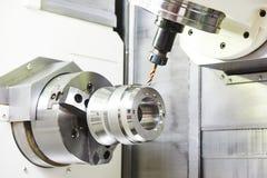 Metalworking drilling process Stock Photos