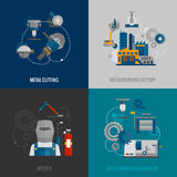 Metalworking factory 4 flat icons. Metalworking factory and cutting machinery 4 flat icons composition with welder equipment pictograms abstract isolated vector Stock Photo