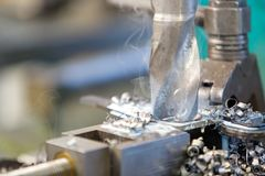 Metalworking industry: metal drilling Royalty Free Stock Photo