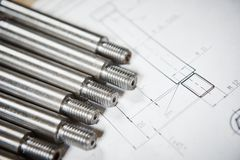 Engineering and metalworking industry. Metal details on print drawing. Metalworking industry. Print technical drawing with metal detail Stock Photography