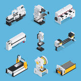 Metalworking Machines Isometric Set. Isometric set of metalworking machines with control panel conveyor computer technologies on blue background  vector Stock Photo