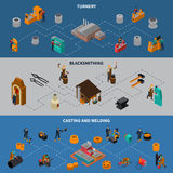 Metalworking Process Isometric Infographic Banners Set. Metalworking processes 3 isometric flowchart infographic elements banners set with blacksmith casting and Royalty Free Stock Photo