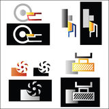 Metalworking symbol set Stock Photos