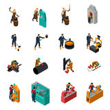 Metalworking Tools Machinery Isometric Icons Collection. Metalworking process equipment tools and machinery isometric icons collection with blacksmith forging Royalty Free Stock Photos