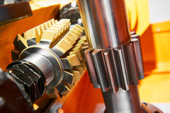 Metalworking tooth gear cogwheel machining by hob cutter mill tool Royalty Free Stock Photos