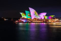 `Metamathemagical` -The Theme of this year`s Vivid Festival. Sydney, Australia -May 25, 2018: Vivid Sydney Festival at Opera House in Sydney Harbour, Australia Stock Images