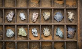 Metamorphic rock geology collection. In old, wooden typesetter box stock images