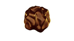Metamorphose of amorphous shape from gold spheres abstract animation of future shape Seamless stock footage