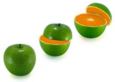 Metamorphosis. The transformation of apple in an orange stock images
