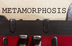 Metamorphosis typed on an old vintage paper. With od typewriter font Stock Images