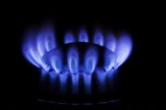 Metane or butane gas. A kitchen range on black background - methane butane natural gas Stock Photography