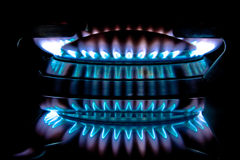 Metano flame on a stove Royalty Free Stock Photography