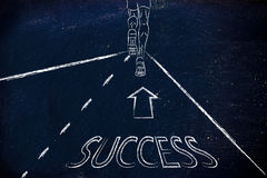 Metaphor of achieving your goals, man running on the road of suc. Man running on a road with directions towards success, concept of reaching your goals Stock Images