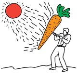 Metaphor benefit of carrot is to help protect the skin against r Royalty Free Stock Image