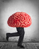 Metaphor of the brain drain. Rubber brain legs while running Royalty Free Stock Image