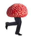 Metaphor of the brain drain. Rubber brain legs while running on white background Royalty Free Stock Photos