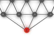 Metaphor of communication. Red leader in front. Concept 3D illustration Royalty Free Stock Photography
