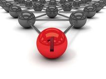 Metaphor of communication. Red leader in front. Concept 3D illustration Stock Image