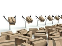 Metaphor for express delivery, cardboard boxes Royalty Free Stock Images