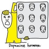 Metaphor function of Dopamine hormone is to control behavior of royalty free illustration